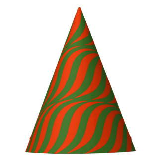 Red and Green Waves Party Hat