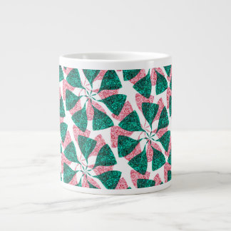 Red and Green Winter Snowflake Pattern Pinwheel Large Coffee Mug