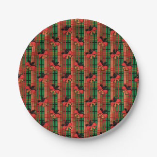 red and green xmas bells plaid pattern paper plate