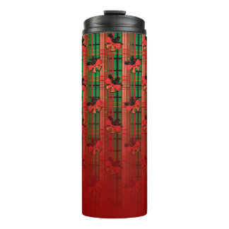 red and green xmas bells plaid pattern thermal tumbler