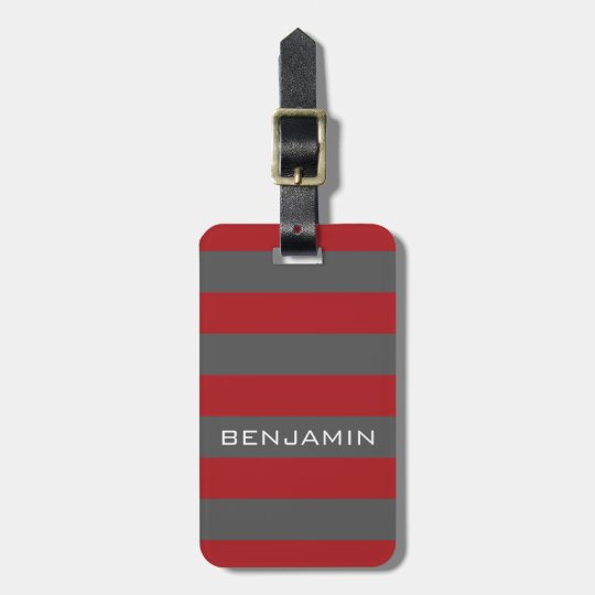 Red and Grey Rugby Stripes with Custom Name Luggage Tag
