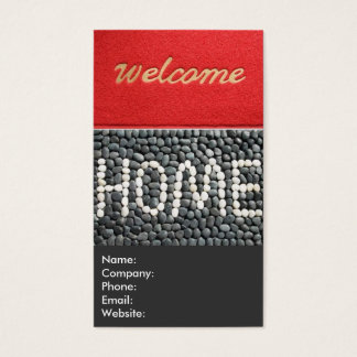 Red and Grey Welcome Home Real Estate Agent Business Card