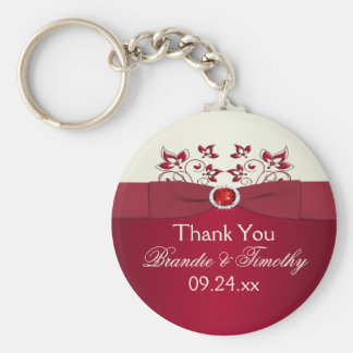 Red and Ivory Floral Wedding Favor Key Chain