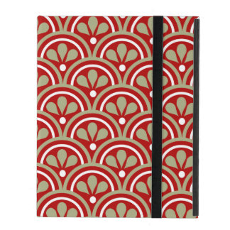 Red And Khaki Floral Art Deco Pattern iPad Cover