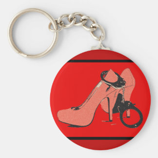 Red and kinky, heels and cuffs, sexy artwork basic round button keychain