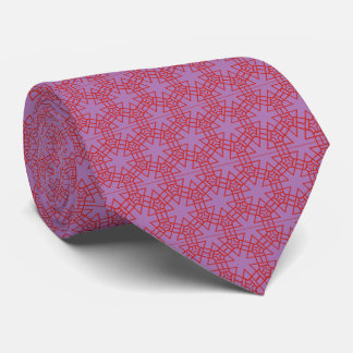 Red and Lavendel Geometric Pattern Tie