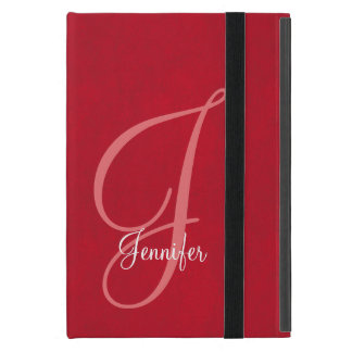 Red and Leather Monogram iPad Mini Case