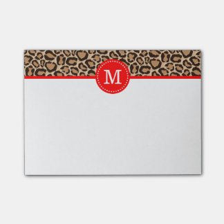Red and Leopard Print Custom Monogram Post-it® Notes