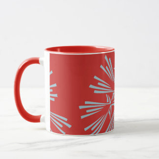 Red and Light Blue Abstract Pattern Coffee Mug