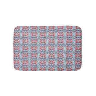 Red and Light Blue Pattern Bath Mat