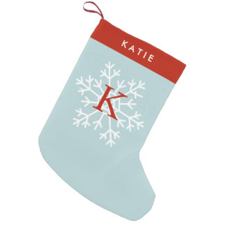 Red and Light Blue Snowflake Monogrammed Small Christmas Stocking