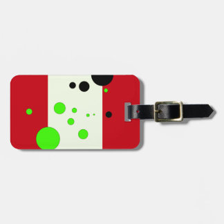 Red and light green with bubbles luggage tag