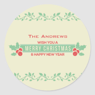 Red and Mint Merry Christmas Customized Stickers