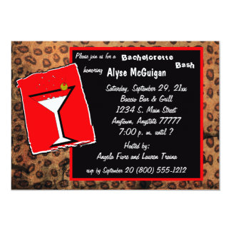 Red And Mocha Caramel Leopard Party Invitation