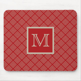 Red and Natural Geometric Pattern Monogrammed Mouse Pad