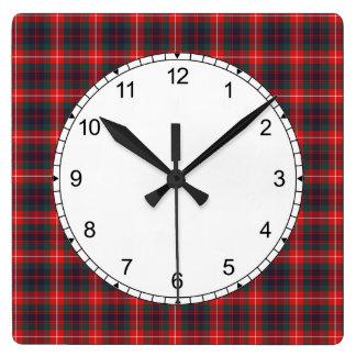 Red and Navy Blue Fraser of Lovat Modern Tartan Square Wall Clock