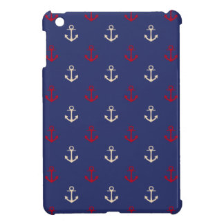Red And Navy Blue Nautical Anchors Pattern iPad Mini Cover
