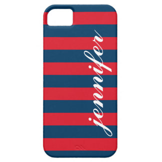 Red and Navy Stripes | Script Monogram iPhone 5 Cover