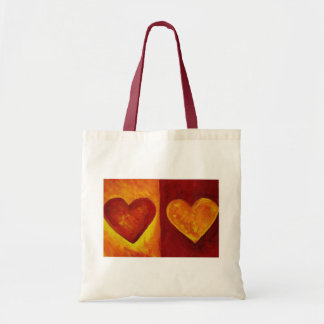 Red and Orange Abstract Hearts Tote Budget Tote Bag