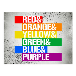 Red and Orange and Yellow and Green and Blue and P Postcard