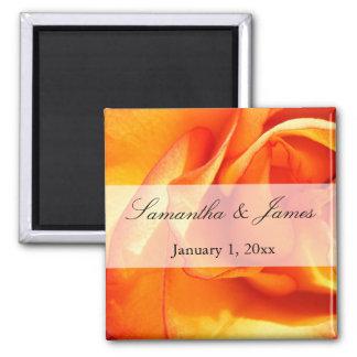 Red and Orange Flaming Rose Magnet