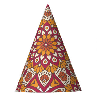 Red and Orange Floral Mandala Party Hat
