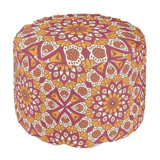 Red and Orange Floral Mandala Pouf