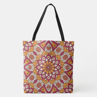 Red and Orange Floral Mandala Tote Bag