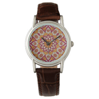 Red and Orange Floral Mandala Watch