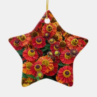 Red and orange helenium flowers ceramic ornament