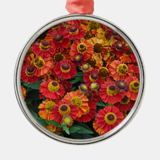 Red and orange helenium flowers metal ornament