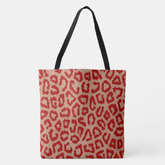 Red and Orange Leopard Tote Bag