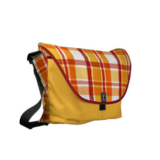 Red and orange plaid pattern courier bags