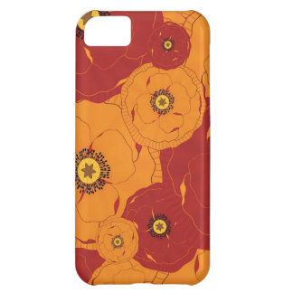 Red and Orange Poppy Field Patterned Case For iPhone 5C