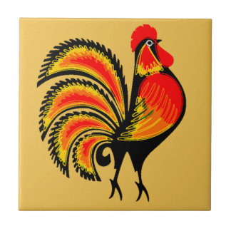 Red and Orange Rooster Tile