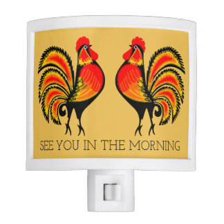 Red and Orange Roosters Night Light
