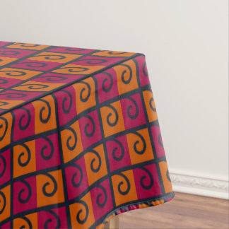 Red and Orange Squares Halloween Colors Tablecloth