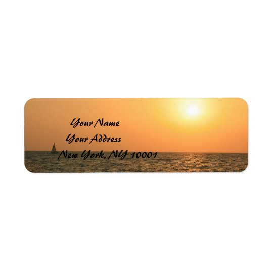 Red and orange Sunset over the Sea Return Address Label