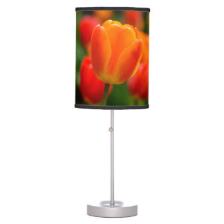 Red and Orange Tulips in the Garden Table Lamp