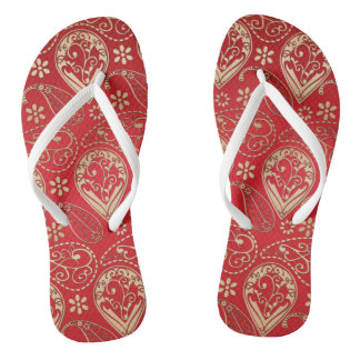 Red And Pale Gold Paisley Flip Flops