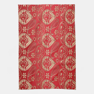 Red And Pale Gold Paisley Kitchen Towel