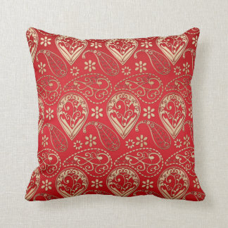 Red And Pale Gold Paisley Throw Pillow
