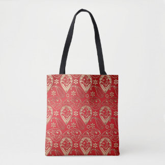Red And Pale Gold Paisley Tote Bag