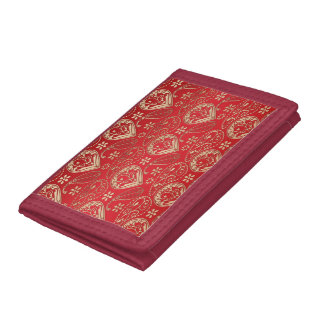 Red And Pale Gold Paisley Tri-fold Wallet
