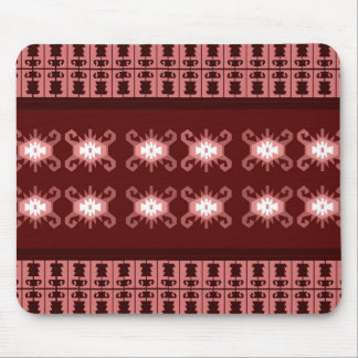 """Red and pale pink Balkan kilim """"Turtle"""" inspired Mouse Pad"""