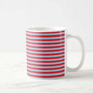 Red and Pastel Blue Stripes Coffee Mug