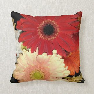Red and Peach Gerbera Daisy. Throw Pillow