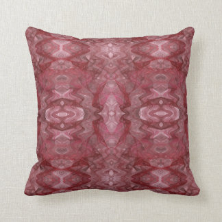 Red and Pink Abstract Fractal Pillow