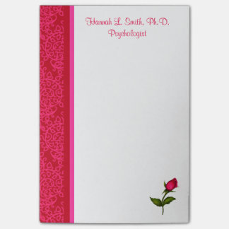 Red and Pink Damask Swirls Rose Post-It Notes
