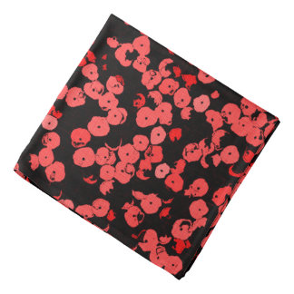 Red and pink dots pattern, sequins on black canvas bandana